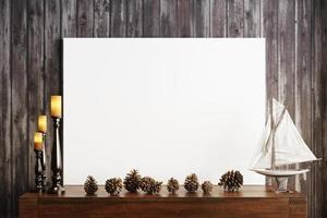 mock up poster con candele e uno sfondo di legno rustico foto