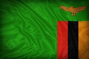 modello di bandiera dello Zambia sulla trama del tessuto, stile vintage foto