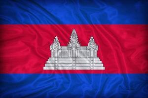 modello di bandiera della Cambogia sulla trama del tessuto, stile vintage foto