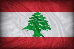 modello di bandiera del Libano sulla trama del tessuto, stile vintage foto