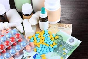 farmaci da prescrizione sullo sfondo di denaro che rappresenta l'aumento dei costi sanitari foto