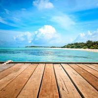 pontile, spiaggia e giungla - sfondo vacanza foto