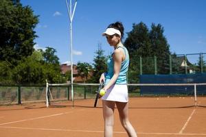 tennis, ragazza che gioca foto