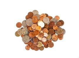 monete tailandesi isolate su bianco foto