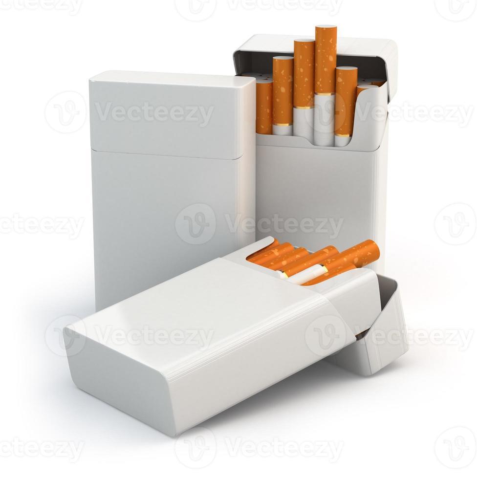 abrir maços cheios de cigarros isolados no fundo branco. foto