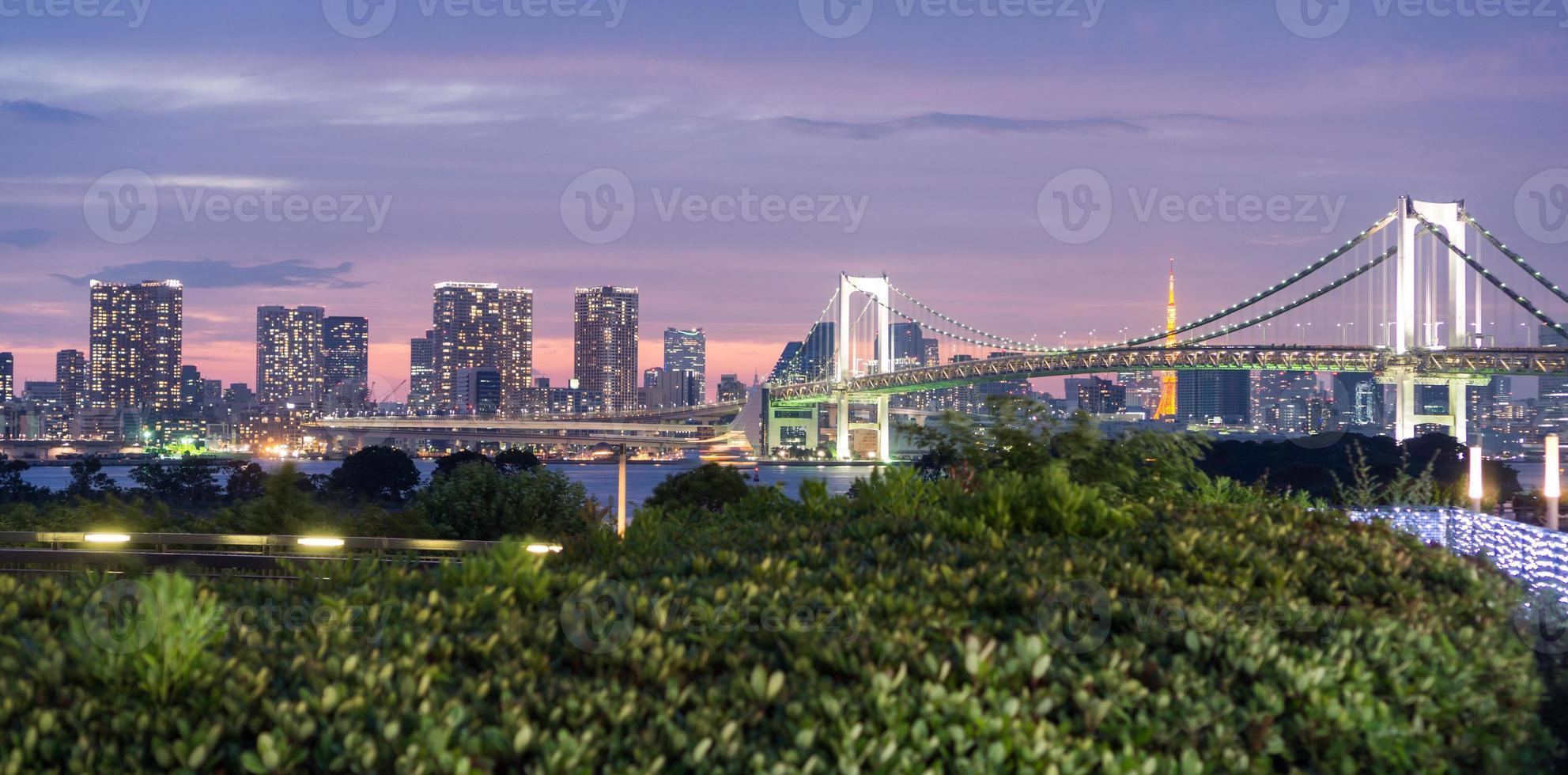 ponte do arco-íris e skyline de Tóquio de odaiba, visão noturna foto