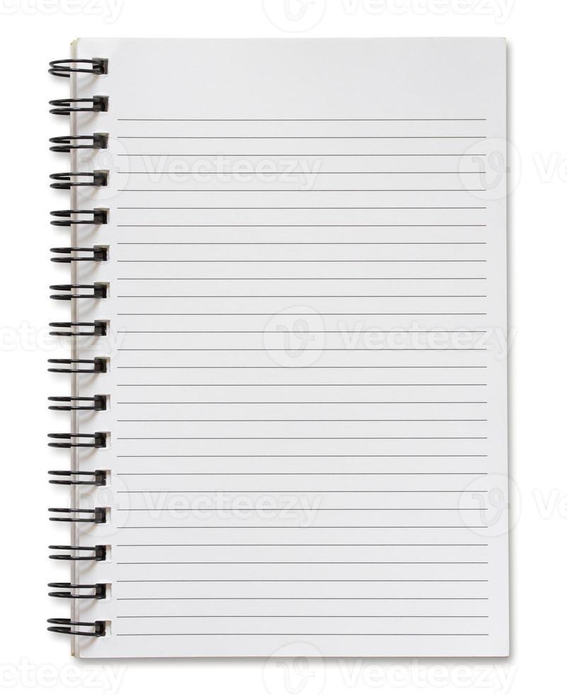 caderno espiral em branco isolado no branco foto