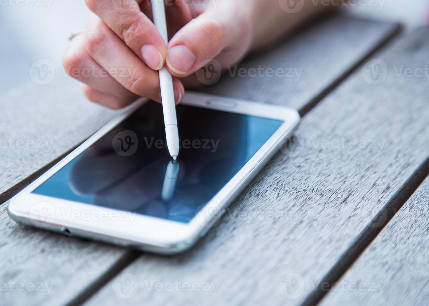 escreva no telefone foto