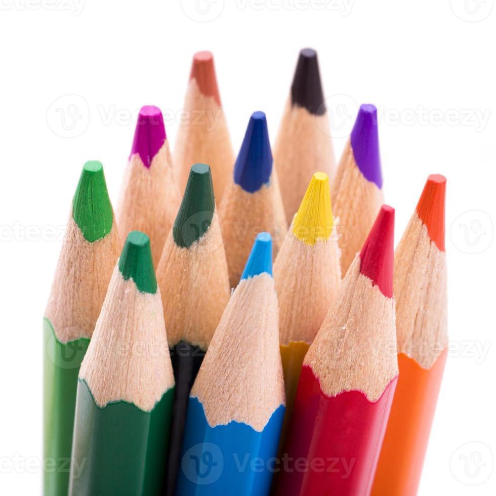 muitos lápis de cor diferentes no fundo branco foto