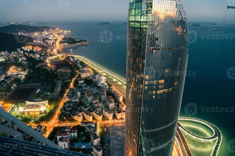 vista aérea, de, fujian, xiamen, marco, arquitetura, e, yan wu, ponte foto