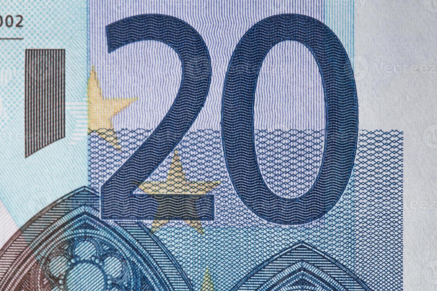 Nota de euro 20 close-up foto