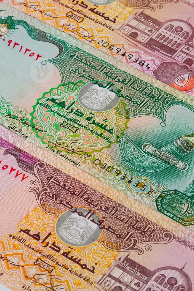 notas de dirham diferentes dos emirados foto