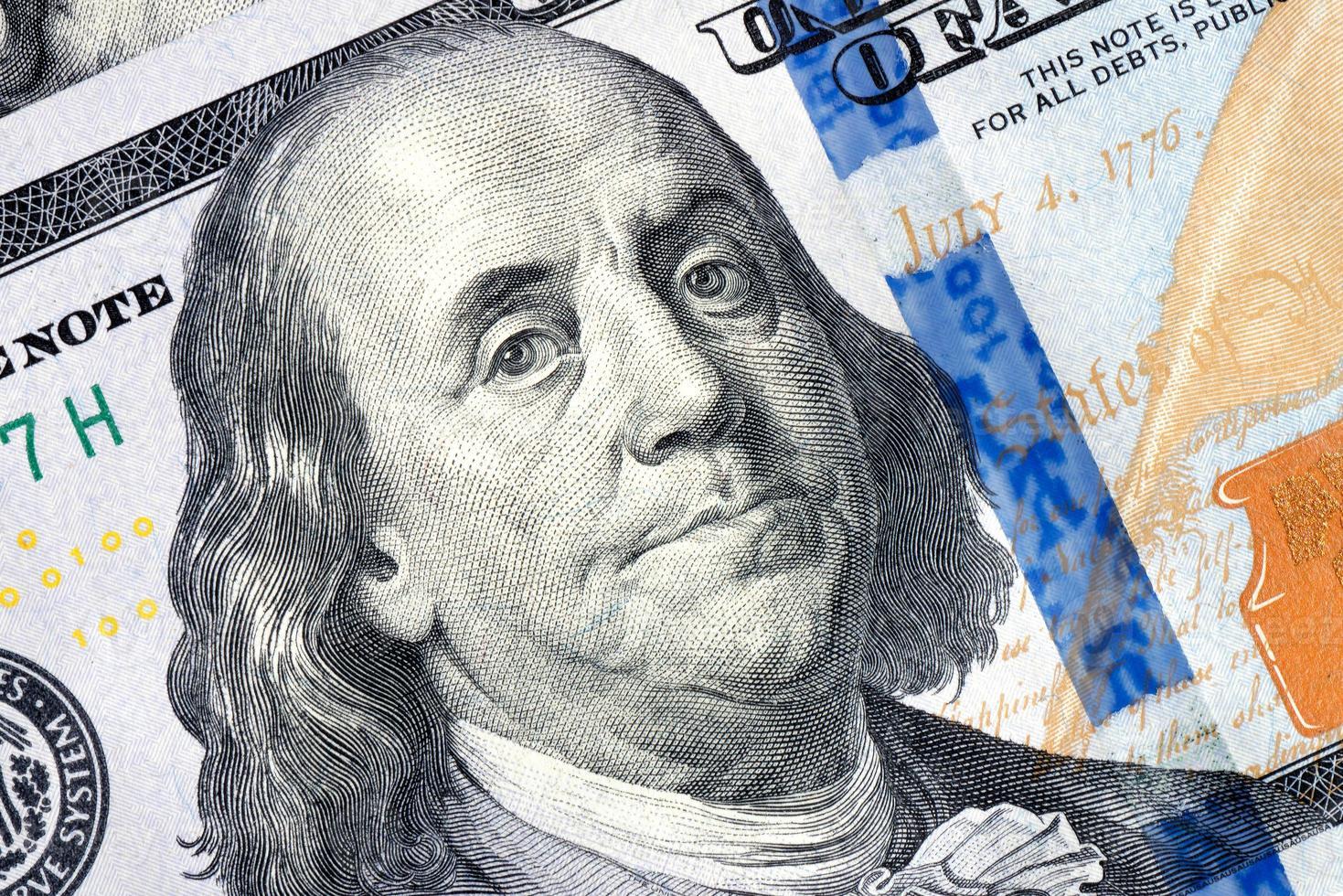 benjamin franklin nota de 100 dólares foto