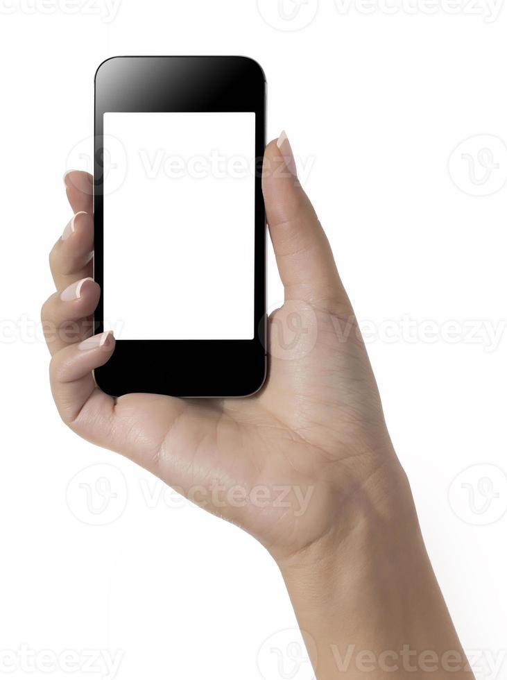 mão segurando o telefone móvel foto