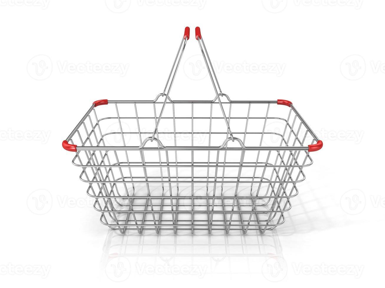 cesto de compras em arame de aço. vista frontal foto