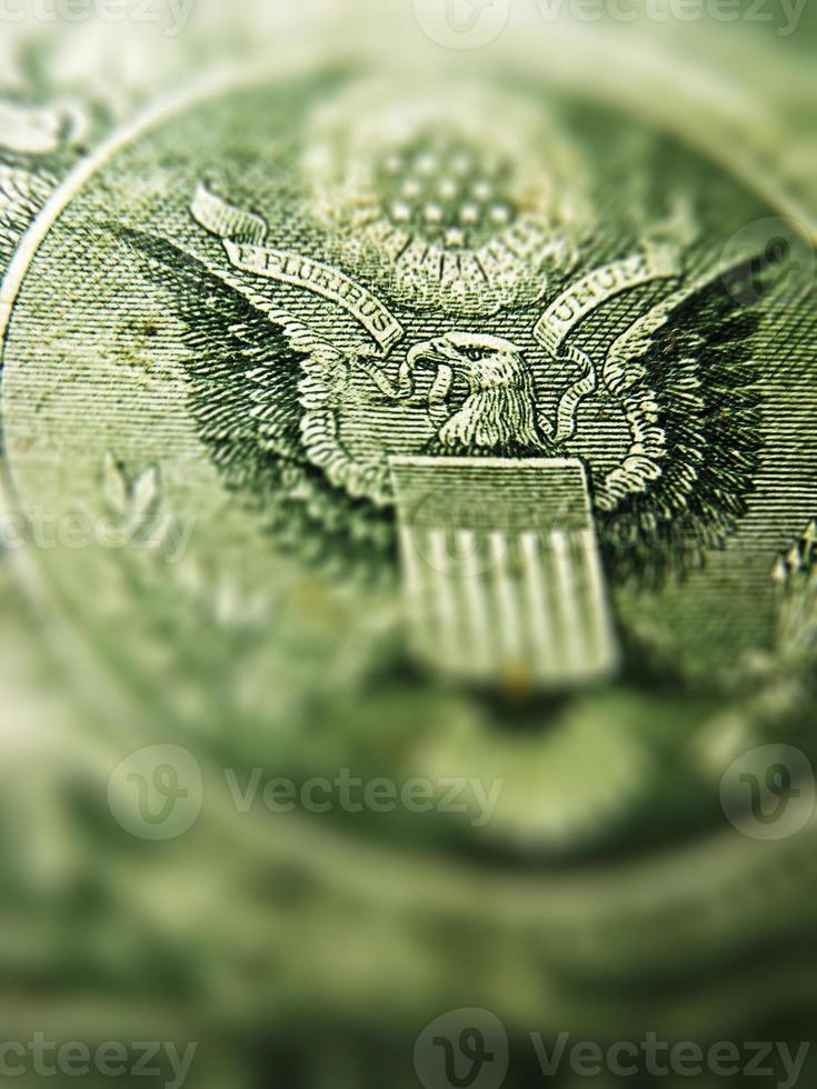parte de trás de uma nota de dólar. foto