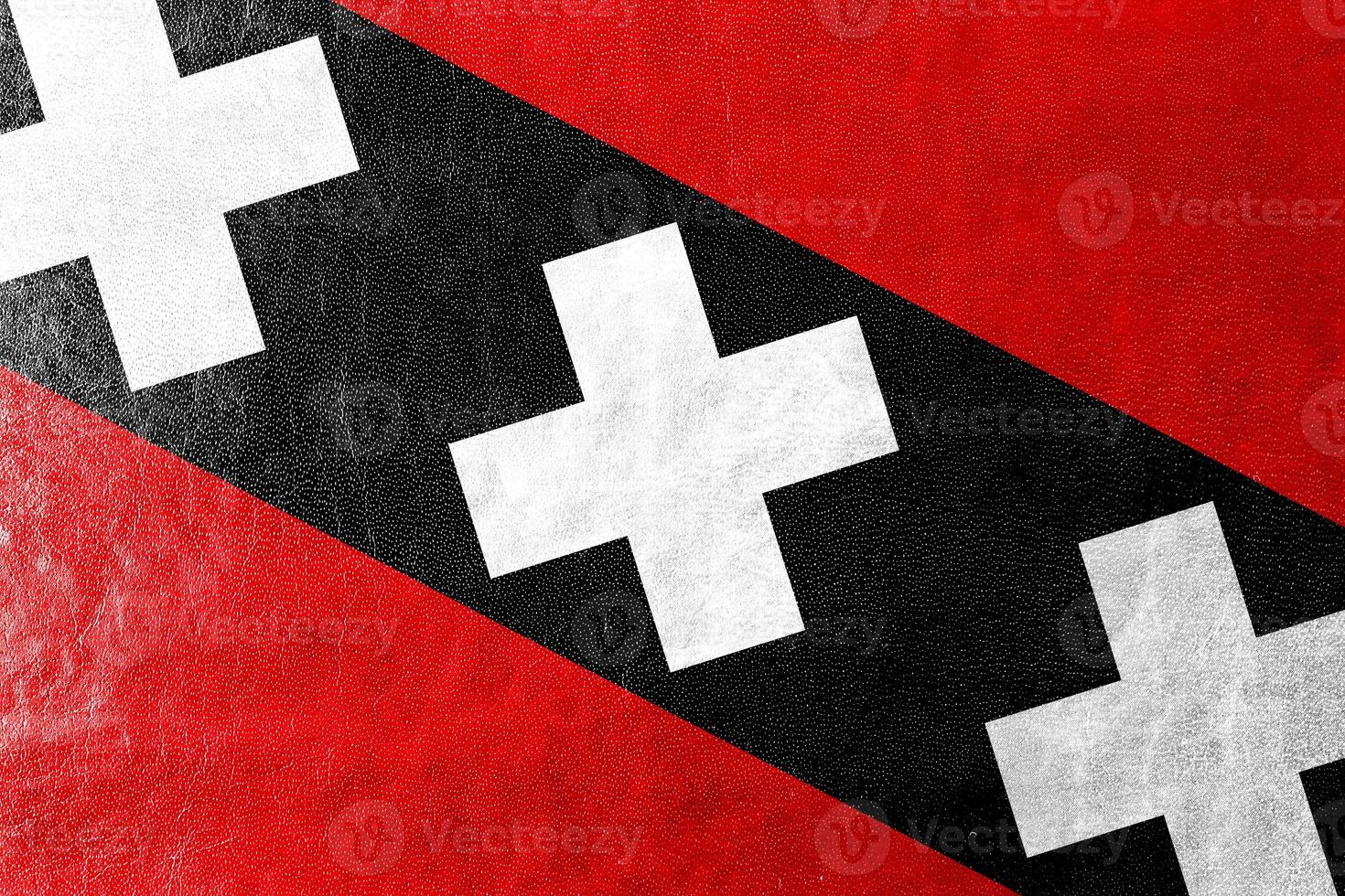 Bandeira da cidade de Amsterdã, pintada na textura de couro foto