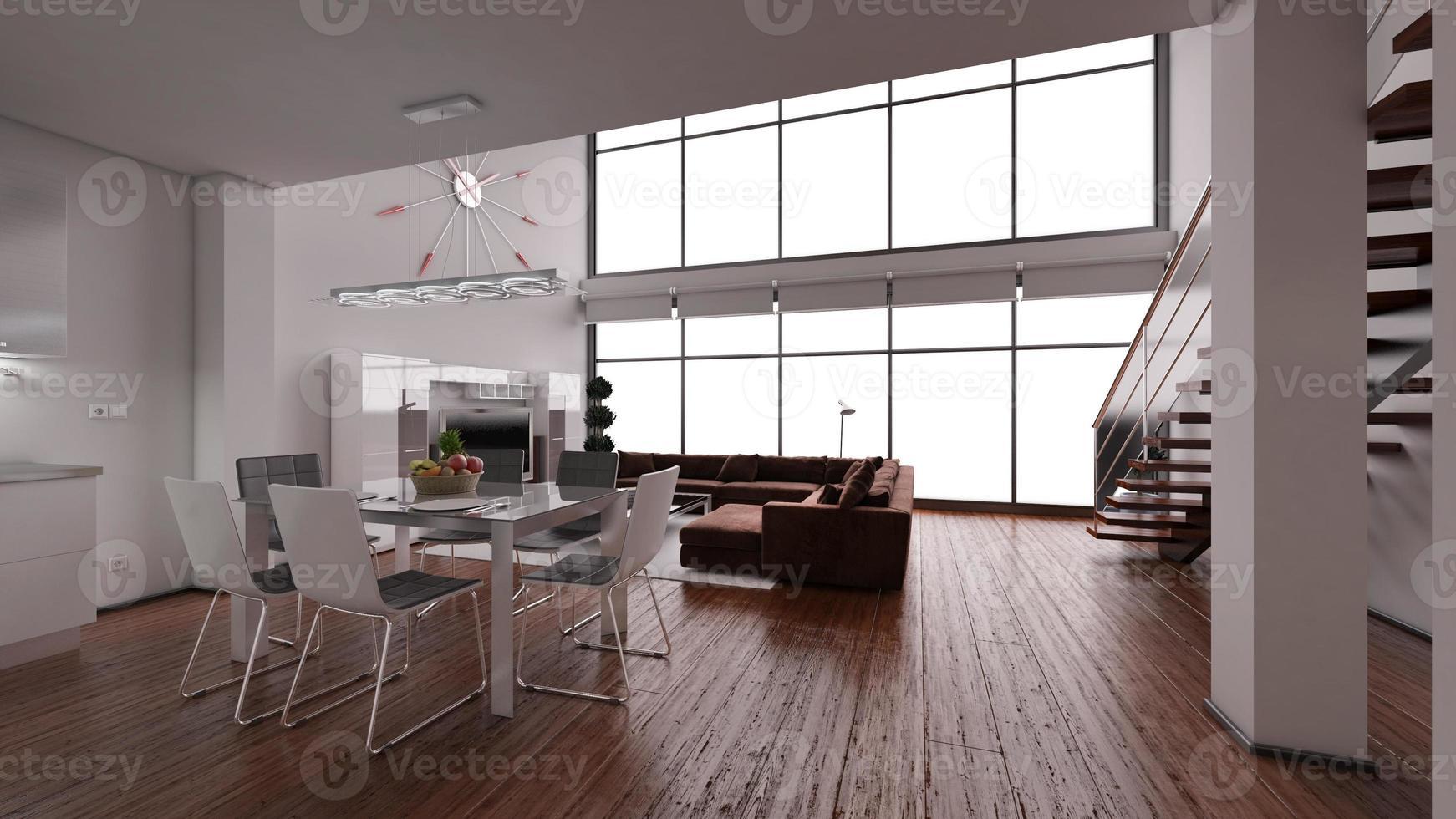 Renderização 3D do interior de um pequeno loft moderno foto