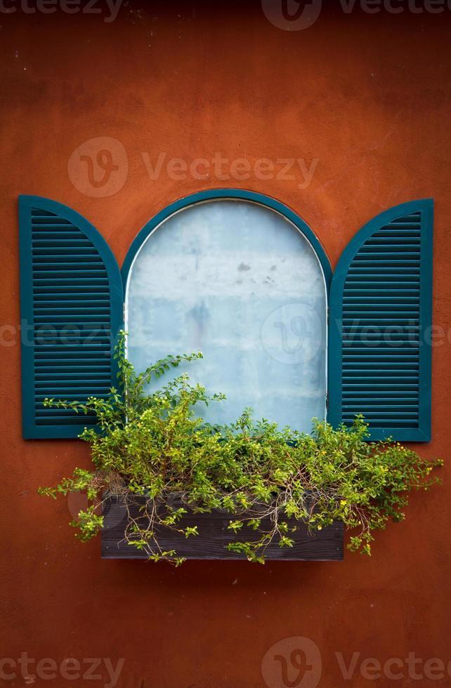 janela na parede laranja foto