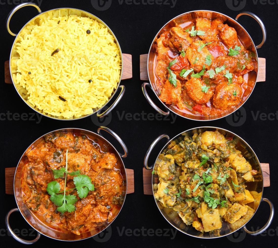 seleção de alimentos curry indiano foto