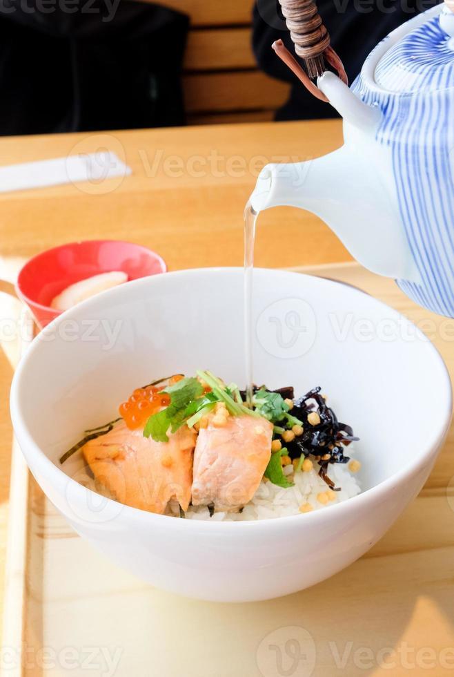 arroz cozido japonês, ochazuke foto