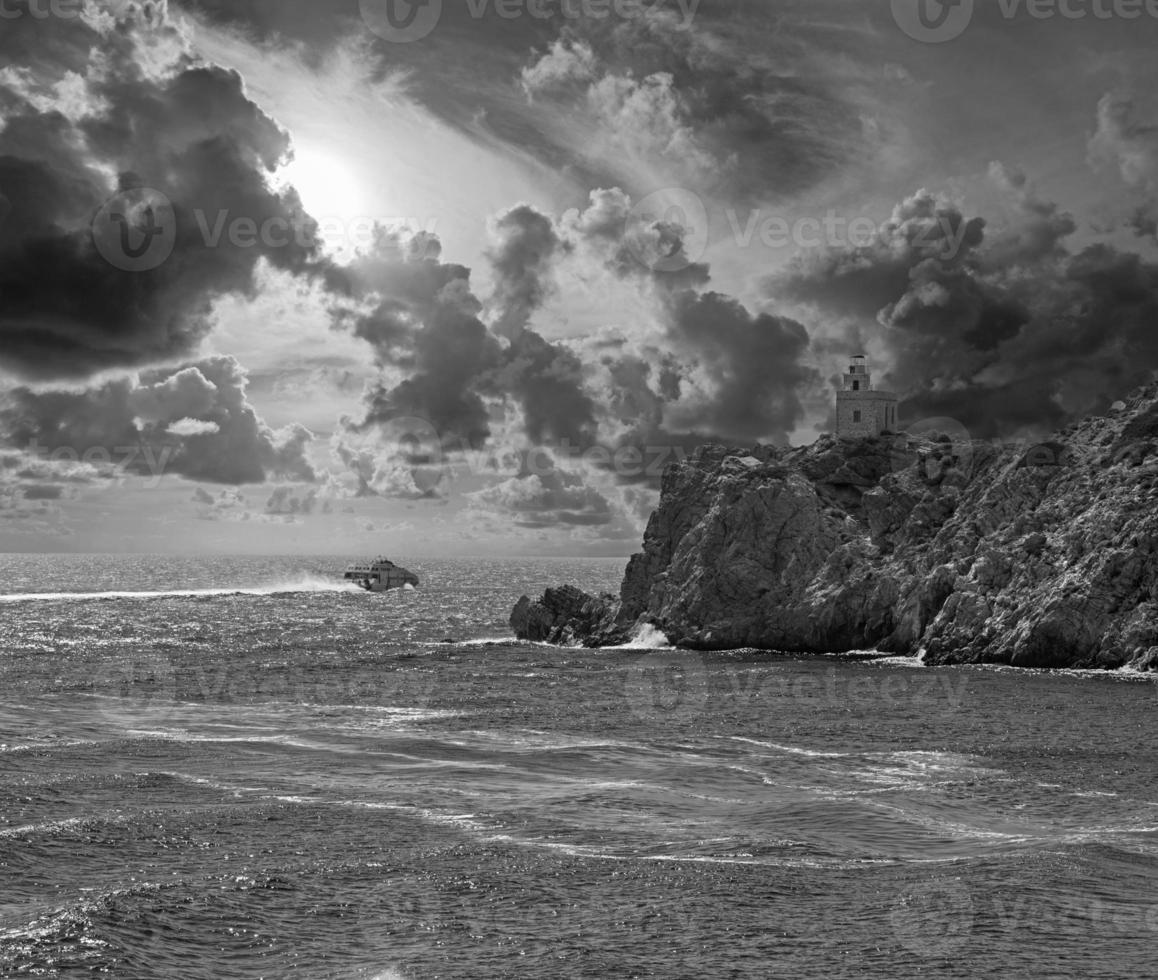o farol da ilha grega ios foto