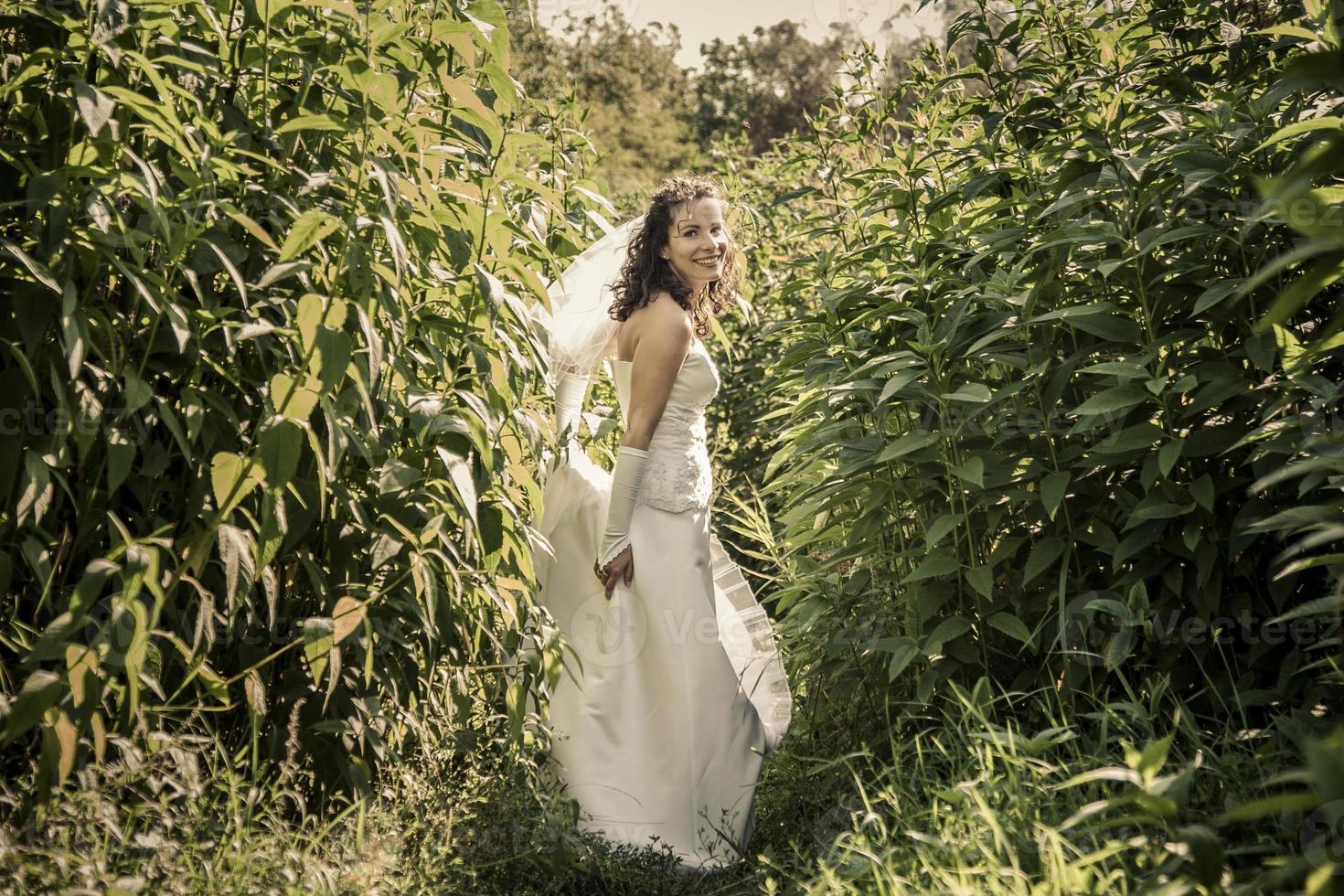 noiva linda feliz em pé na grama e sorrindo. foto