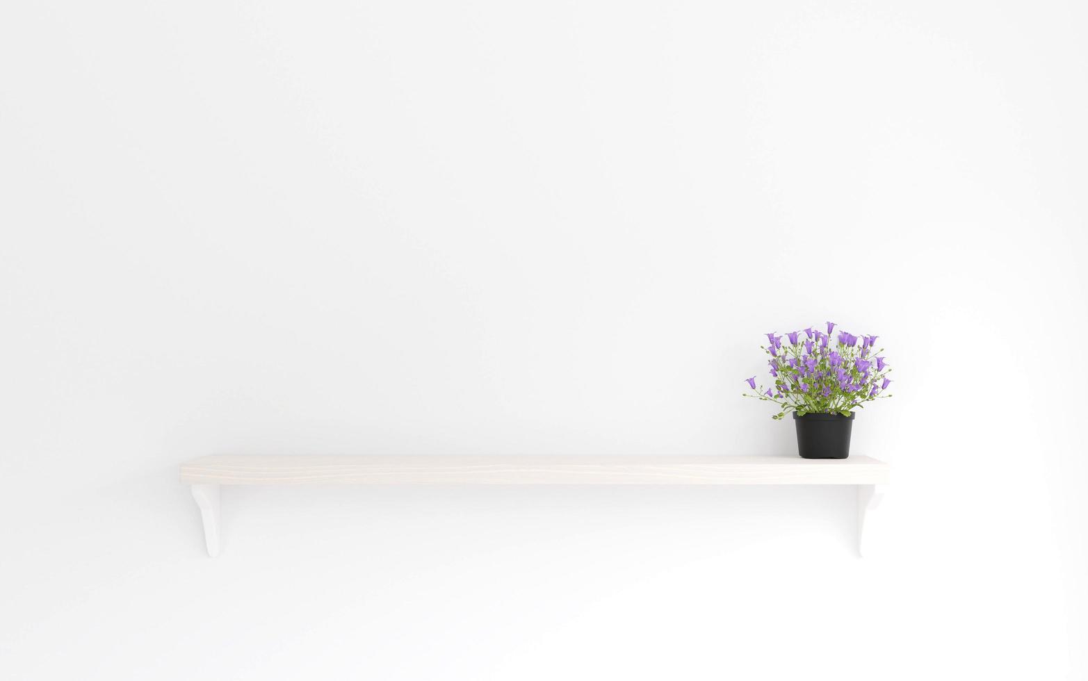 flor roxa de estilo minimalista na prateleira de madeira foto
