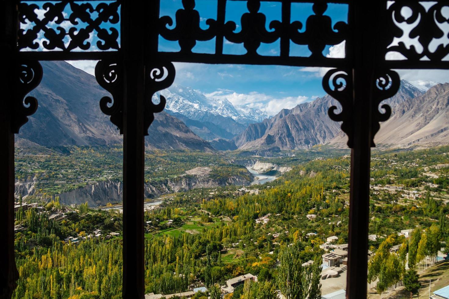 natureza paisagem vista do vale de hunza nagar, paquistão foto