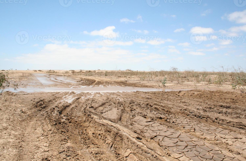 estrada salgada lamacenta após chuva forte, costa do esqueleto, namíbia, áfrica foto
