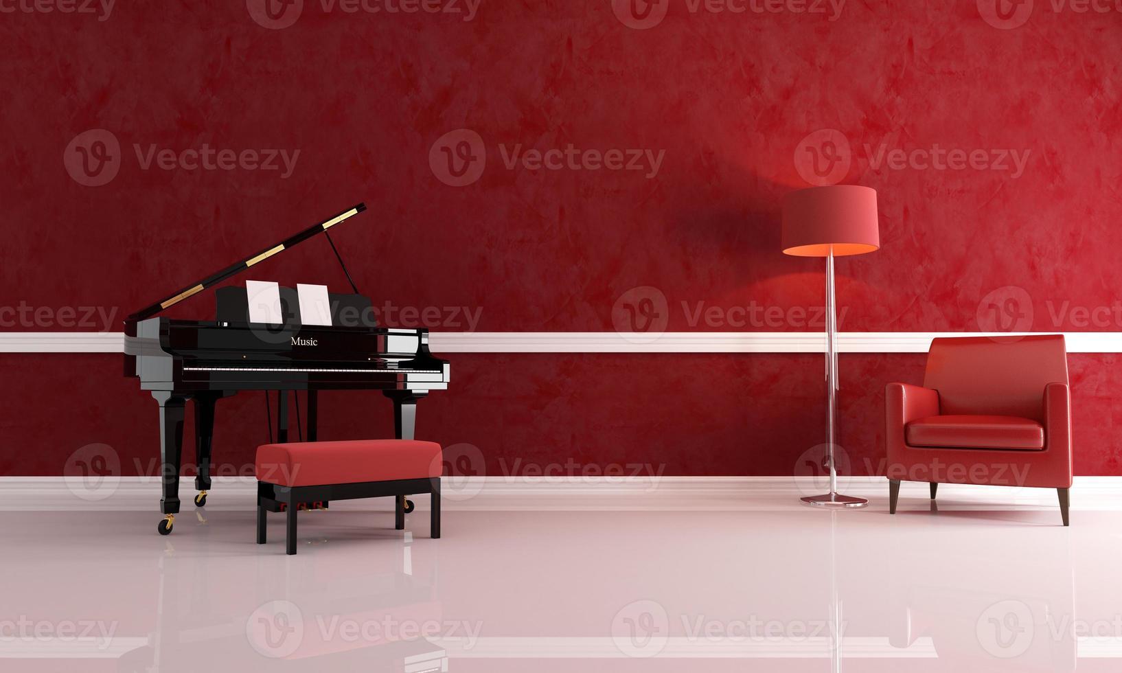 luxuosa sala de música vermelha foto