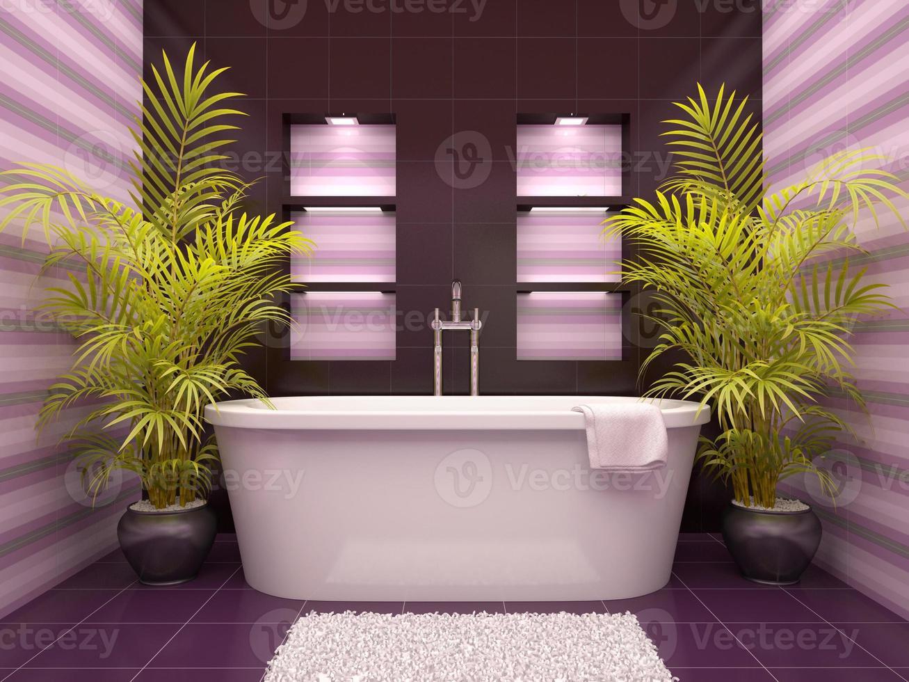 Ilustração 3D do banheiro interno com nichos na parede foto