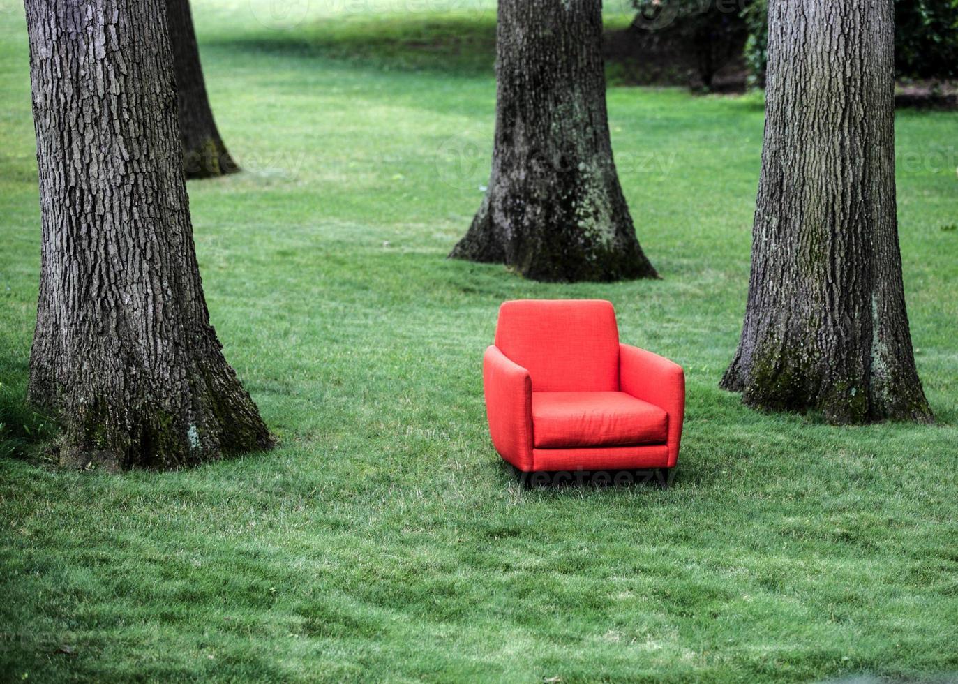 cadeira vermelha no gramado foto