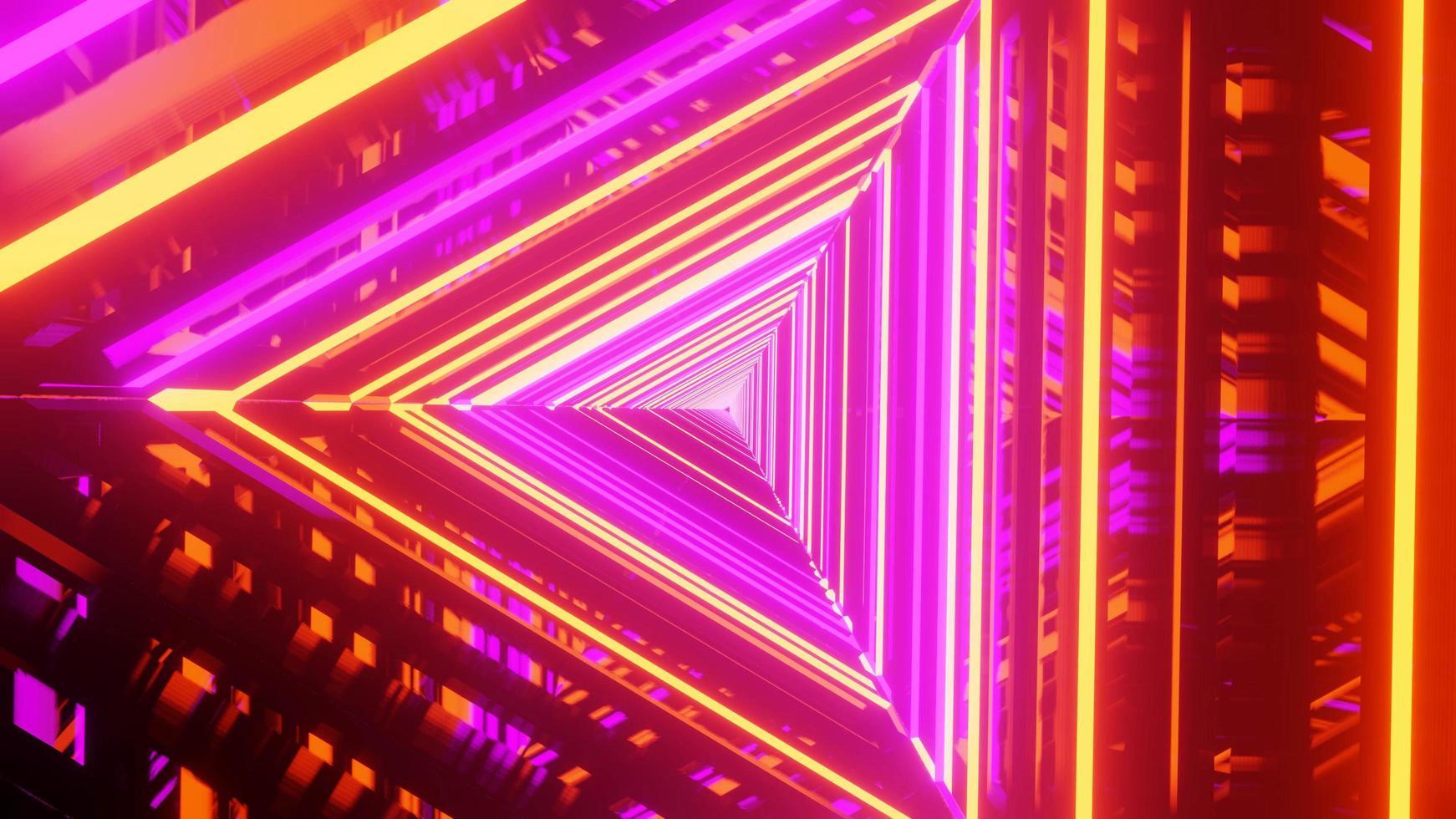 ilustração 3D de luzes brilhantes espelhadas foto