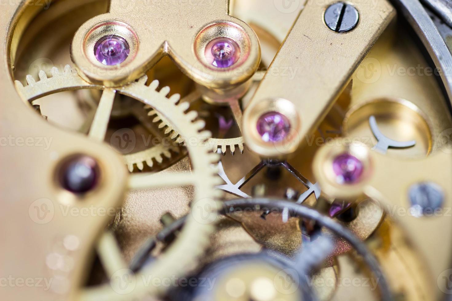 foto macro do mecanismo do relógio de bolso