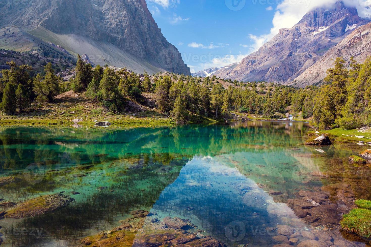 vista horizontal do lago da montanha foto