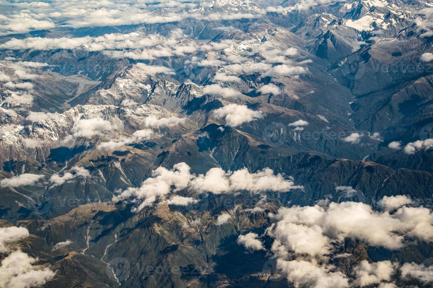 vista aérea dos Alpes do Sul, Ilha do Sul da Nova Zelândia foto