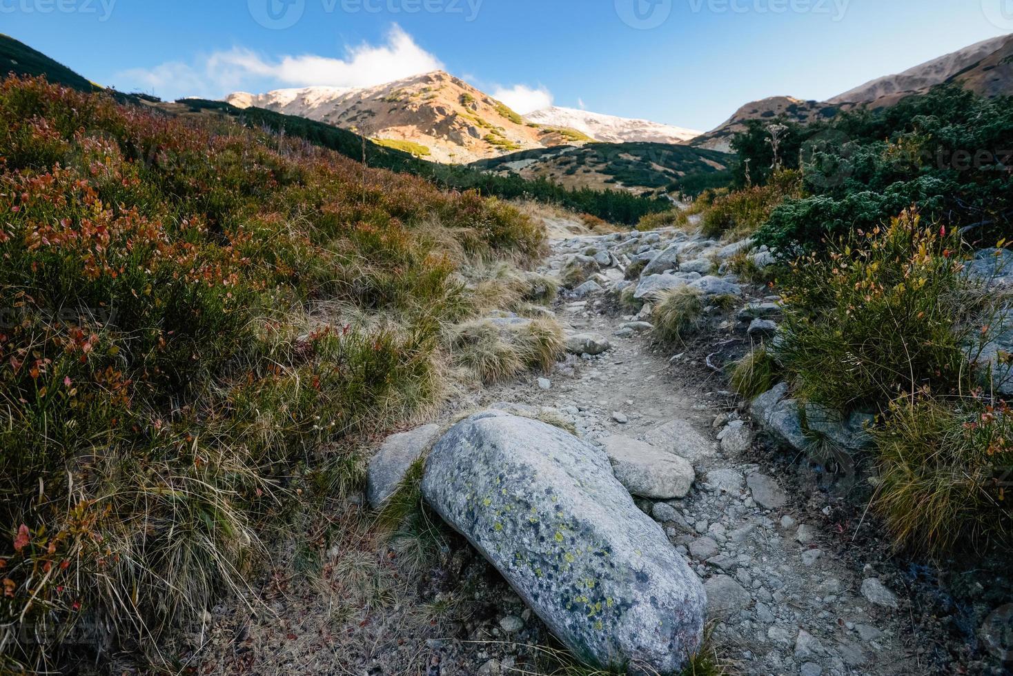 paisagem montanhosa com caminho que leva ao topo. tatras, eslováquia, europa. foto