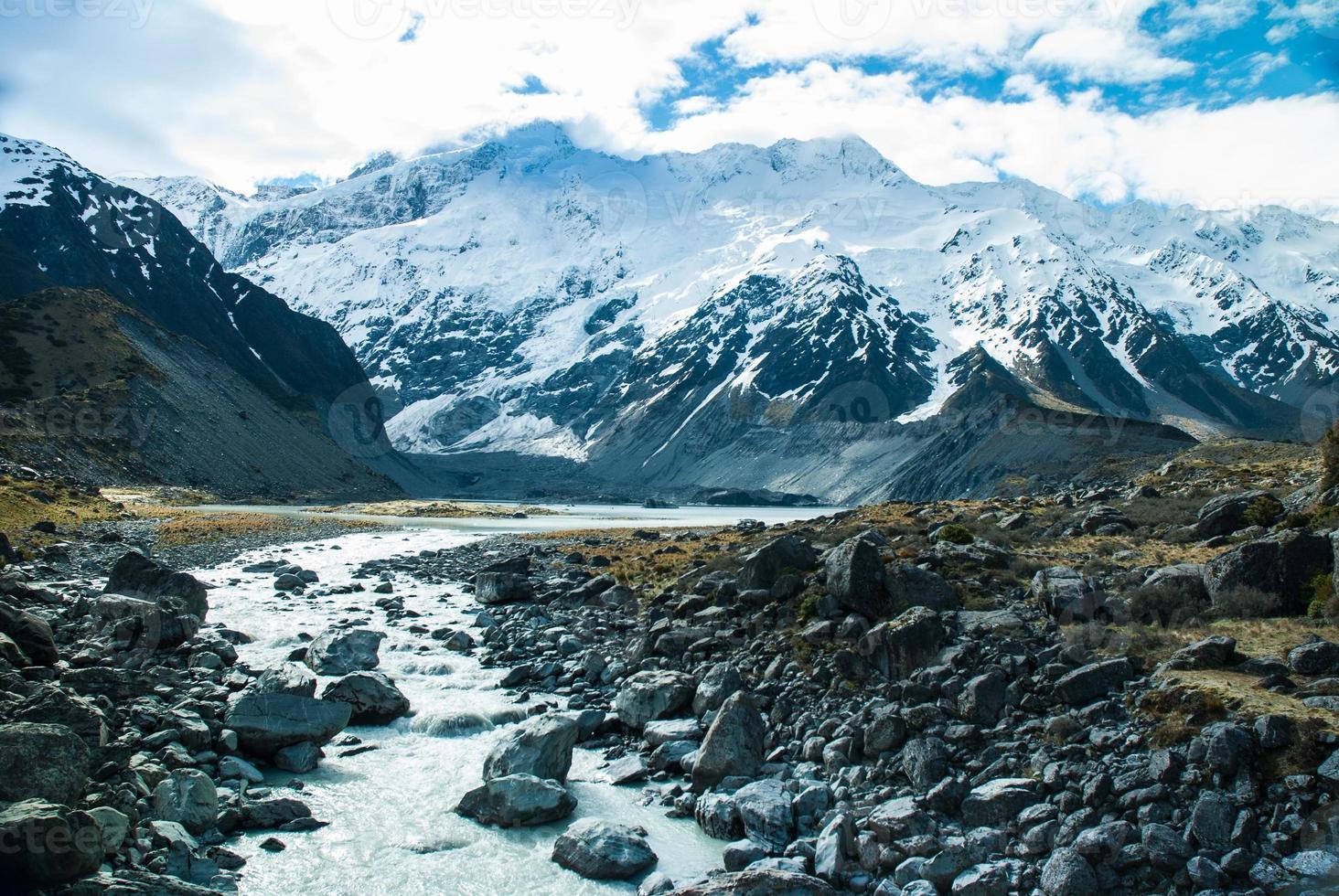 bela vista e geleira no parque nacional de Mount Cook, sul foto