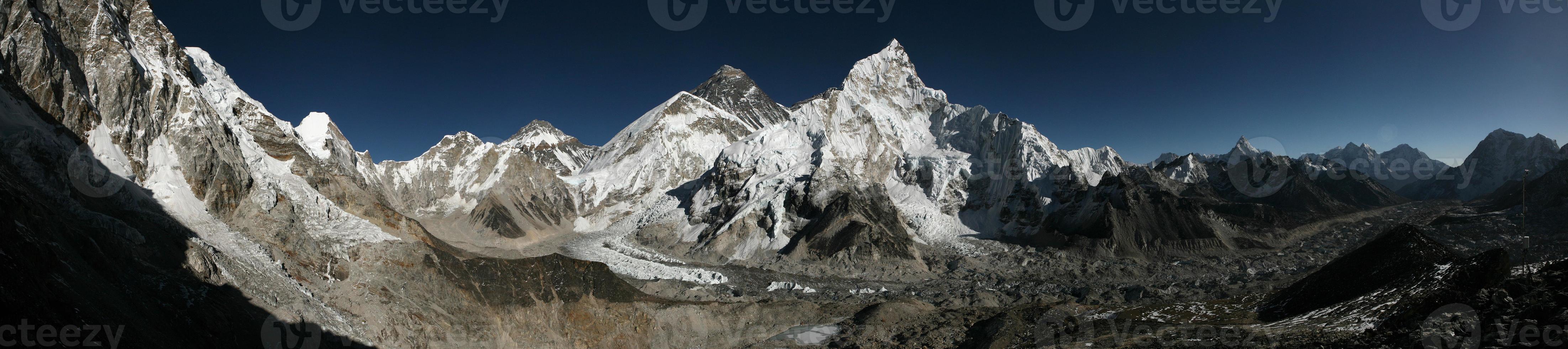 Monte Everest e a Geleira Khumbu de Kala Patthar, Himalaia foto