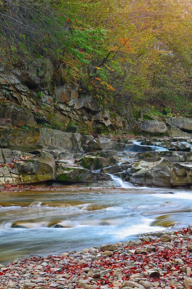rio da montanha no outono foto