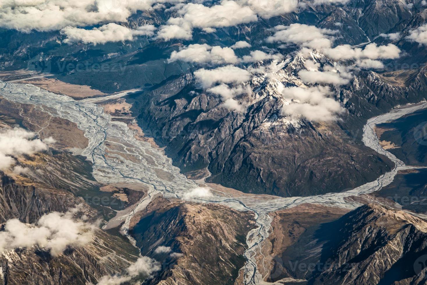 linha de geleira, alpes do sul de avião, nova zelândia foto