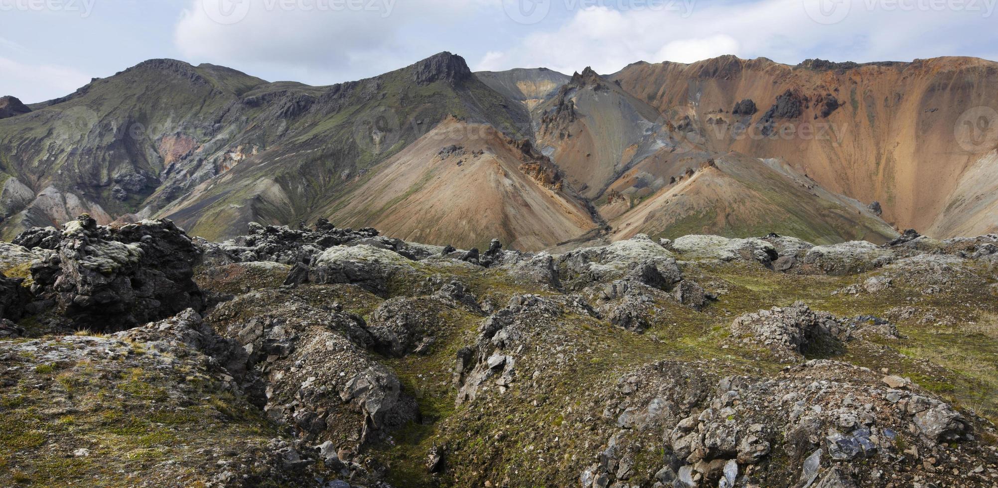 Islândia. área sul. fjallabak. paisagem vulcânica com formações de riolito. foto