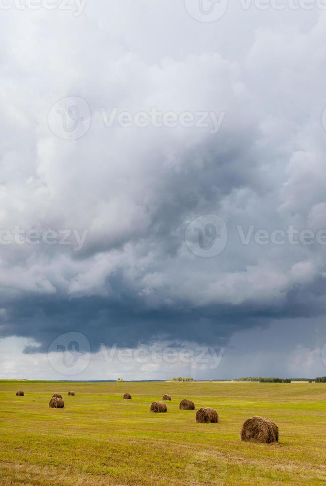 montes de feno em um fundo de céu nublado foto