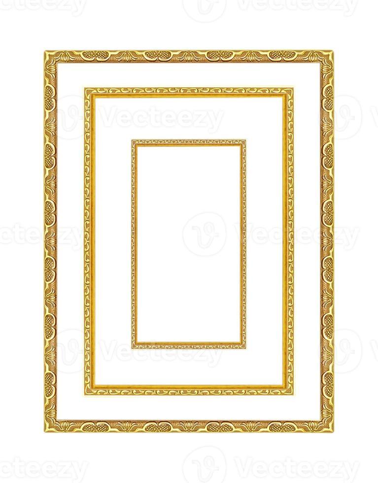 molduras de ouro. isolado em fundo branco foto