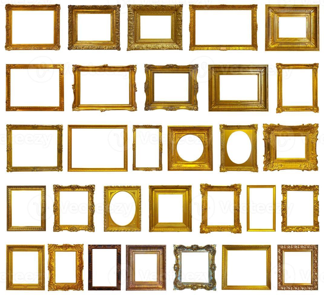 conjunto de 30 molduras douradas foto