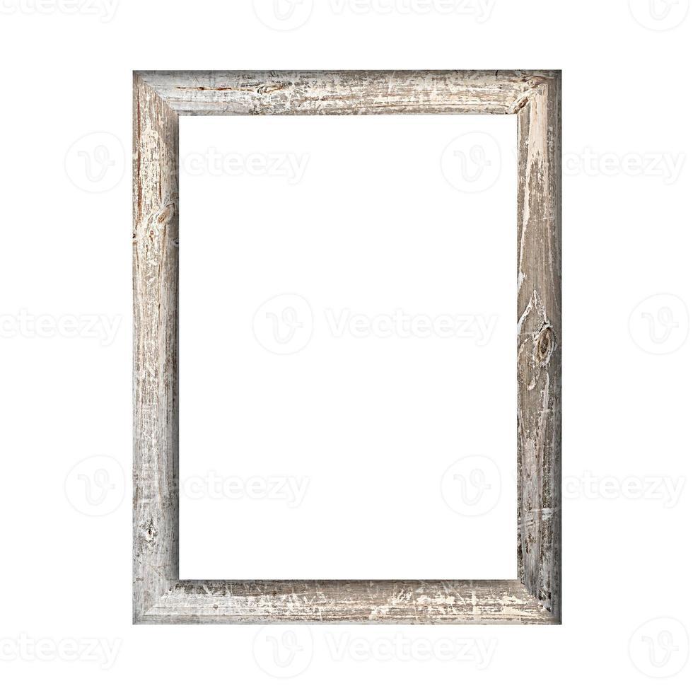 moldura de madeira velha isolada no fundo branco foto