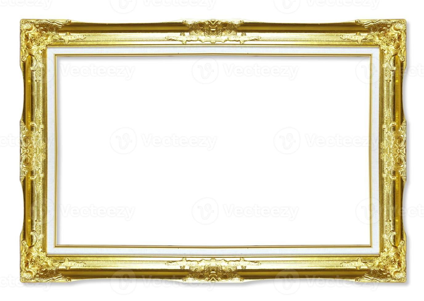 ouro molduras antigas. isolado em fundo branco foto