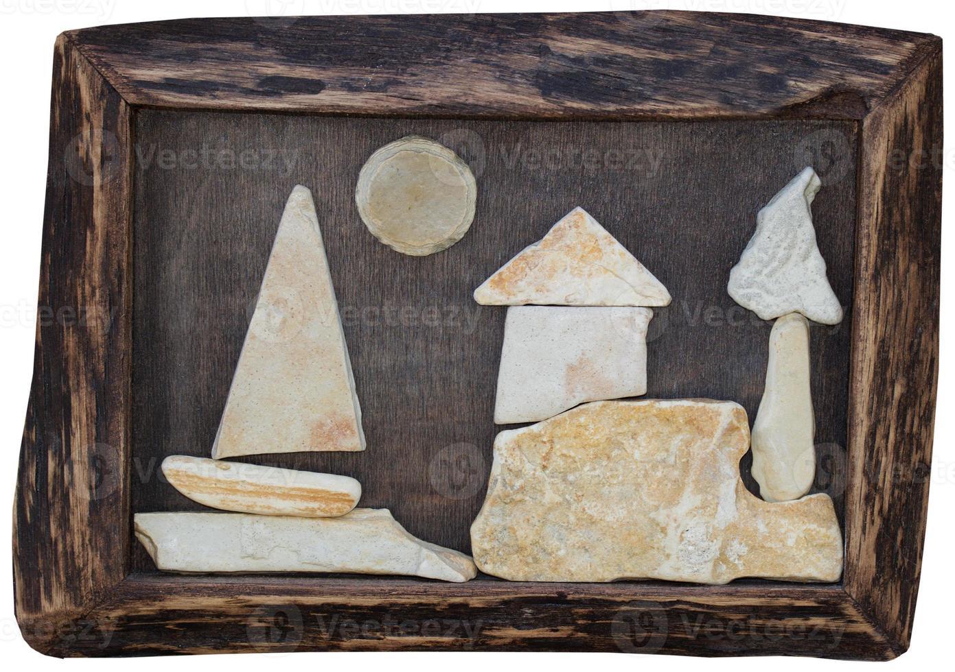 quadro feito à mão com pedras em moldura de madeira foto