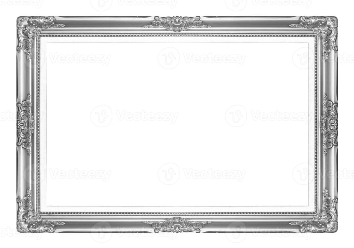 porta-retratos antigos de prata. isolado em fundo branco foto